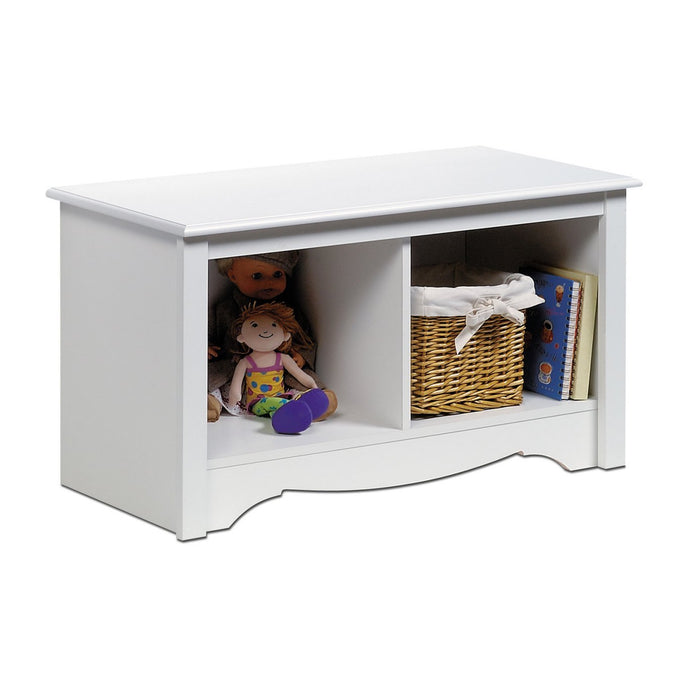 Prepac Monterey White Wood Finish Storage Bench