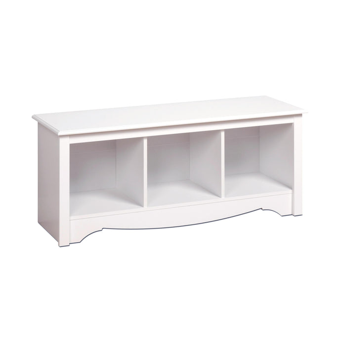 Prepac Monterey White Wood Finish Cubbie Bench