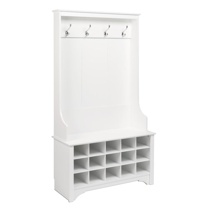 Prepac White Wood Finish Coat Rack With Shoes Storage Cabinet