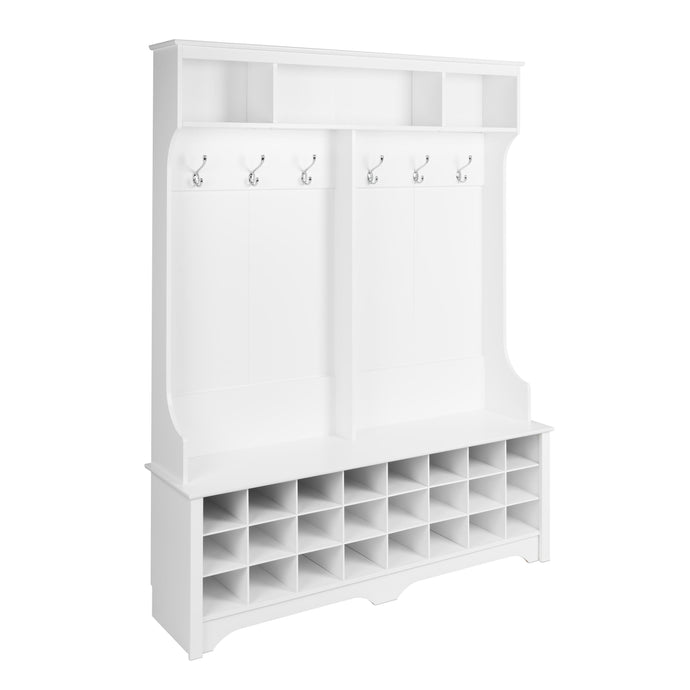 Prepac White Wood Finish Coat Rack With 24 Shoes Storage Cabinet