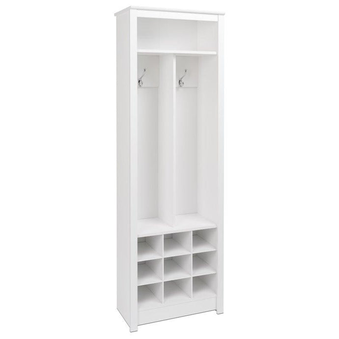 Prepac Entryway White Wood Finish Coat Rack With Shoes Storage Cabinet