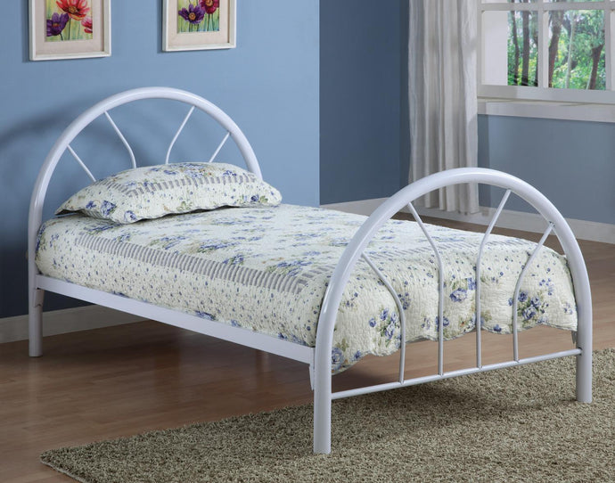 Contemporary Style White Twin Metal Bed