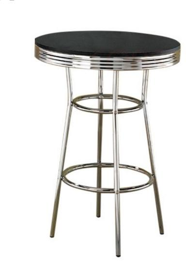 Coaster Black Round Top Chrome Soda Fountain Bar Table
