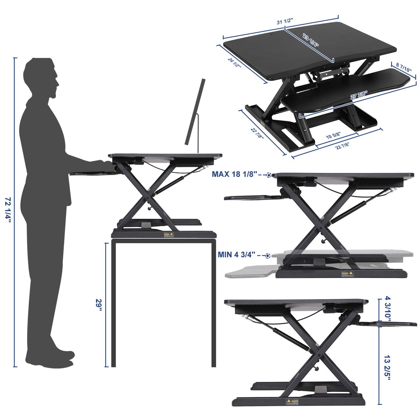 SONGMICS Table Top Standing Desk with Dual Monitor Support