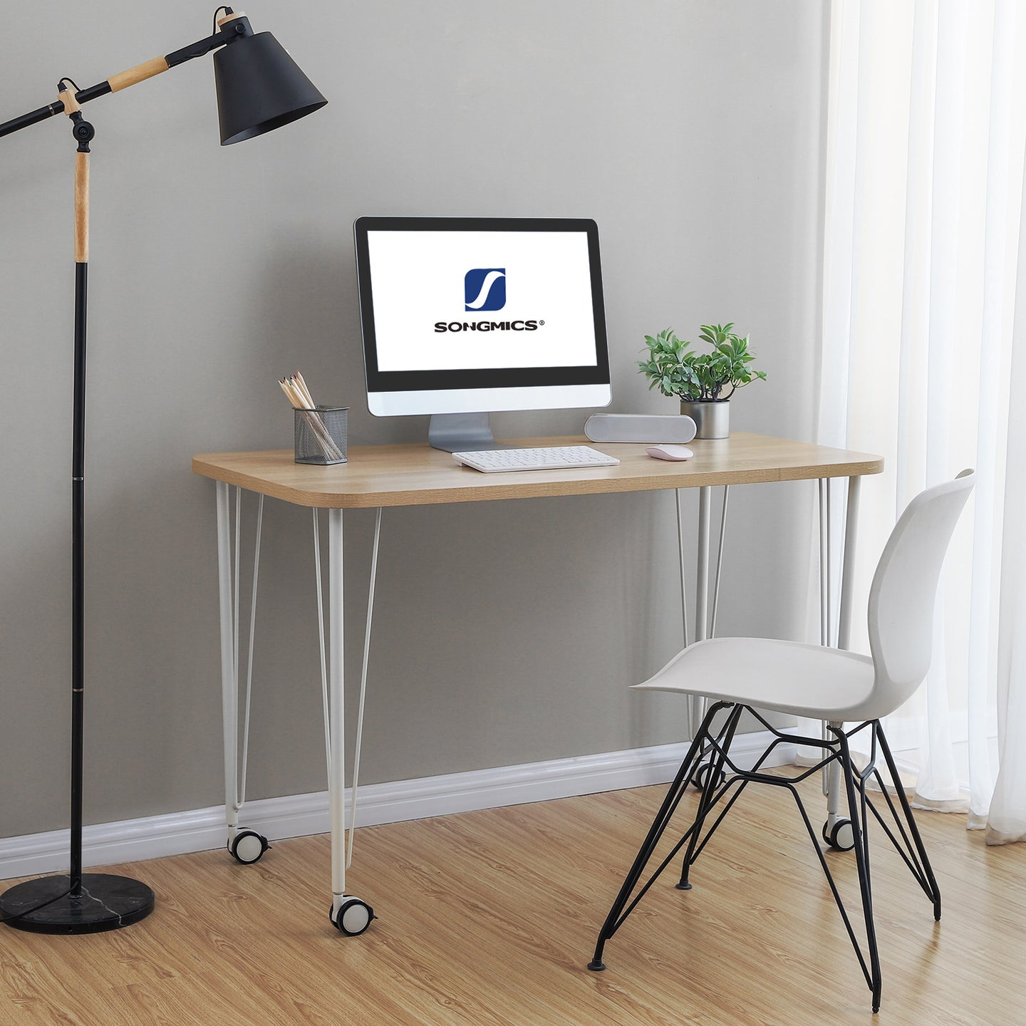 SONGMICS Movable Computer Office Writing Desk With Wheels