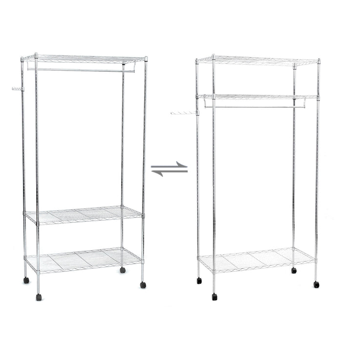 SONGMICS 3-Tier Heavy Duty Rolling Garment Clothes Rack with Shelves