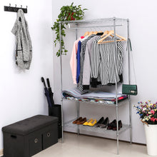 Load image into Gallery viewer, SONGMICS 3-Tier Heavy Duty Rolling Garment Clothes Rack with Shelves
