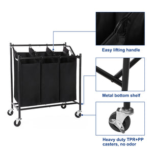 Songmics 3 Bag Rolling Laundry Sorter Cart