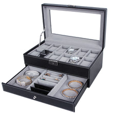 Load image into Gallery viewer, Songmics 12 Slots Lockable Watch Box