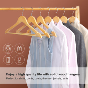 Songmics 20 Pack Selected Solid Wooden Hangers