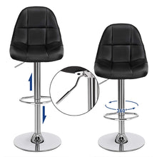 Load image into Gallery viewer, Songmics Adjustable Swivel Bar Stools Set of 2 Black ULJB68B