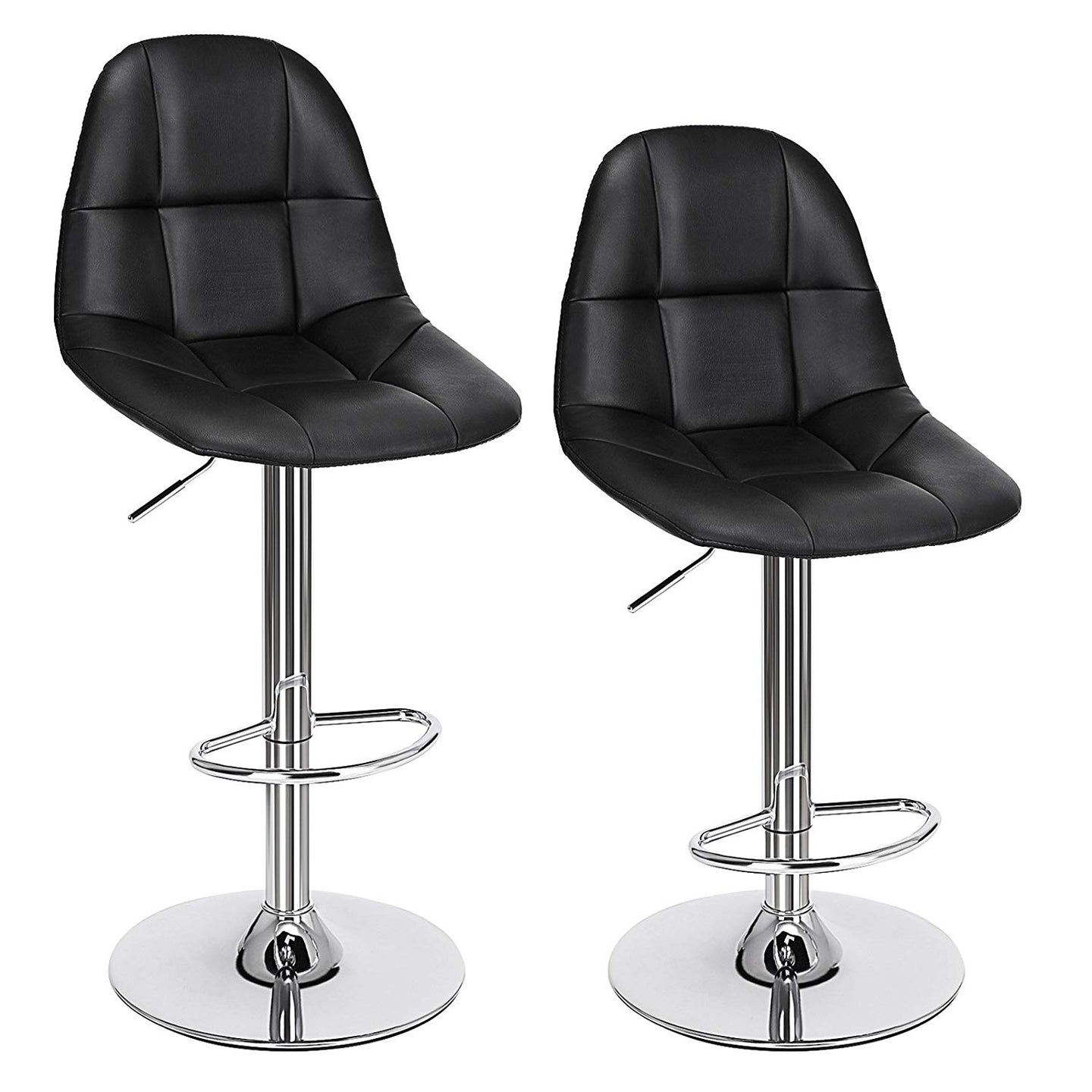 Songmics Adjustable Swivel Bar Stools Set of 2 Black ULJB68B