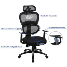 Load image into Gallery viewer, Songmics Ergonomic Mesh Swivel Desk Office Chair Black UOBN89BK