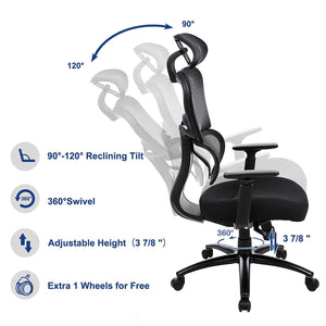 Songmics Ergonomic Mesh Swivel Desk Office Chair Black UOBN89BK