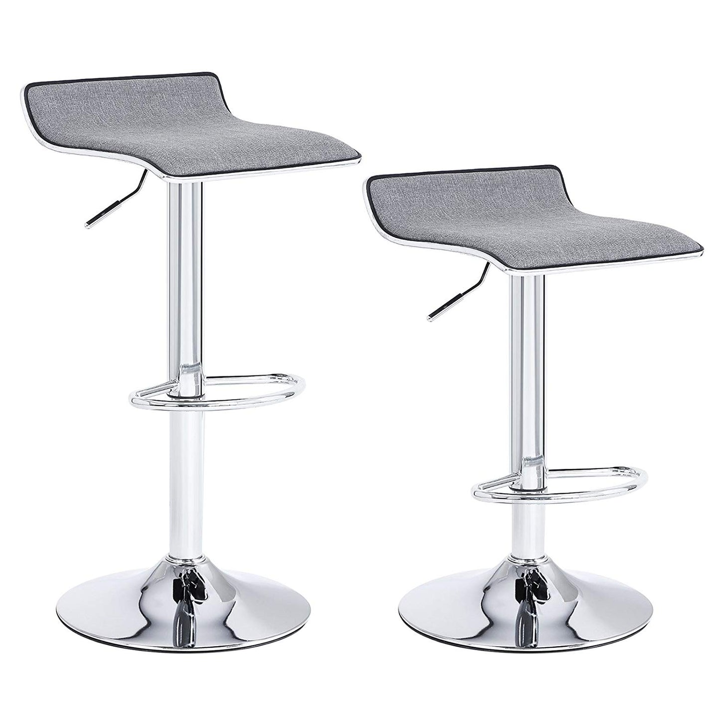 Songmics ULJB12G Gray Steel Finish 2 Piece Barstool