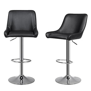 Songmics ULJB16B Black Steel Chrome Finish 2 Piece Bar Stool