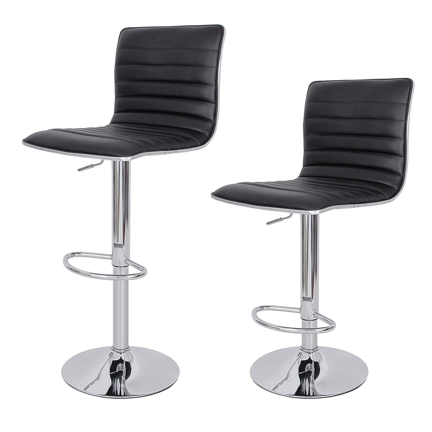 Songmics ULJB65B Black Leather And Steel Finish 2 Piece Bar Stool
