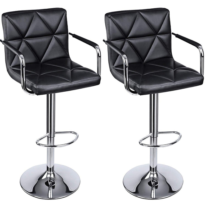 Songmics ULJB93B Black PU Leather and Steel Finish 2 Piece Bar Stool