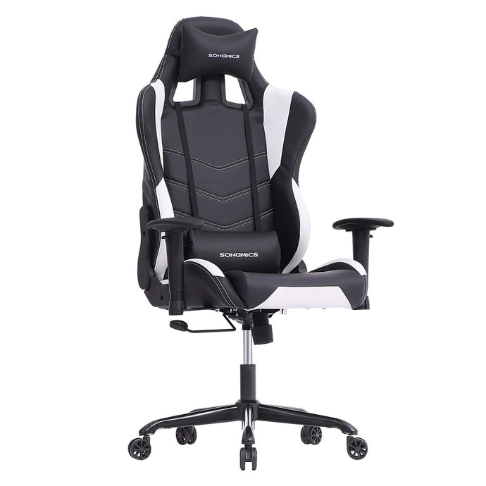Songmics URCG12W Black White Nylon Steel Finish Gaming Office Chair