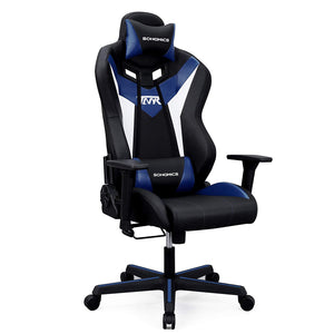 Songmics URCG15BU Black Blue Nylon Steel Finish Gaming Office Chair