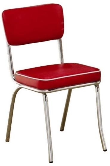 Chrome Plated Red Dining Side Chair