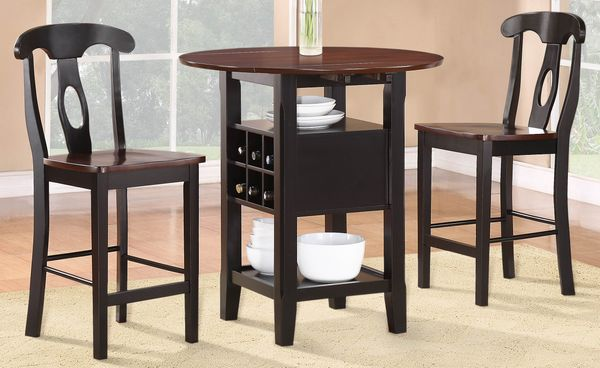 Homelegance Atwood Black And Espresso Wood Finish 3 Piece Bar Table Set