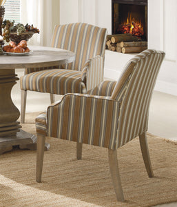 Homelegance Euro Weathered Stripe Fabric Finish 2 Piece Dining Arm Chair