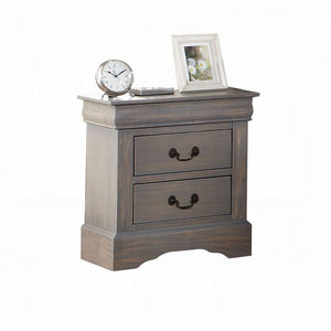 Acme Louis Philippe Antique Gray Wood Finish 2 Drawer Nightstand