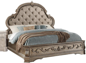 Acme Furniture Northville Eastern King Panel Bed Antique Champagne