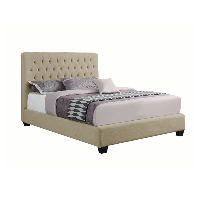 Homy Living Chloe Cream Upholstered Wood Finish Full Bed