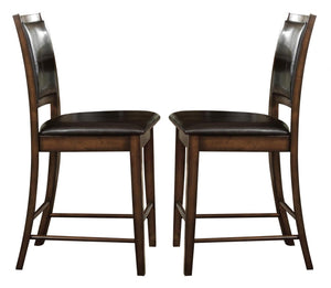 Homelegance Verona Amber Leather And Wood Finish 2 Piece Counter Height Dining Chair