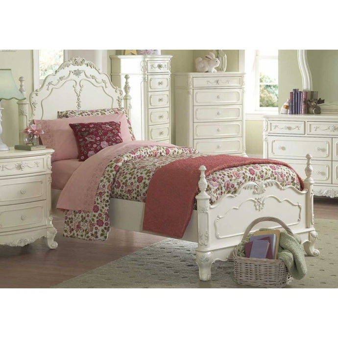 Homelegance 1386F-1 Cinderella Ecru White Wood Full Poster Bed Floral