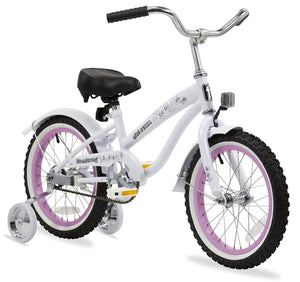"Firmstrong Mini Bella Girl 16"" Beach Cruiser Bicycle White Wth Pink Rims"