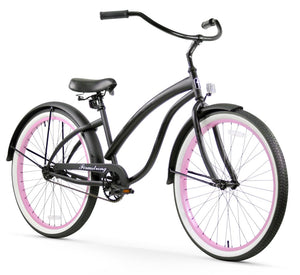 "Single Speed Women's 26"" Beach Cruiser Bike Matte Black with Pink Rims"