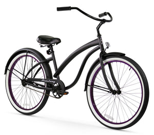 "Single Speed Women 26"" Beach Cruiser Bike Matte Black with Purple Rims"
