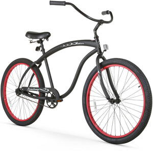 "Single Speed Men's 26"" Beach Cruiser Bike Matte Black with Red Rims"