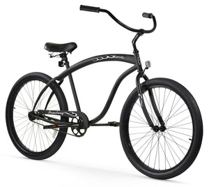 "Single Speed Men's 26"" Beach Cruiser Bike in Matte Black"