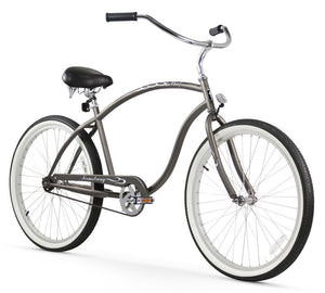"Chief Single Speed Men's 26"" Beach Cruiser Bike in Matte Grey"