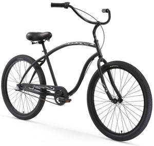 "Chief 3 Speed Men's 26"" Beach Cruiser Bike In Matte Black Firmstrong"