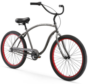 "Chief 3 Speed Men's 26"" Beach Cruiser Bike In Matte Grey"