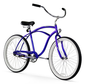 "Urban Man Single Speed Men's 26"" Beach Cruiser Bike In Royal Blue"