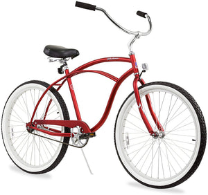 "Urban Man Single Speed Men's 26"" Beach Cruiser Bike In Matte Red"