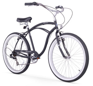 "Urban Man 7 Speed Men's 26"" Beach Cruiser Bike In Matte Black"