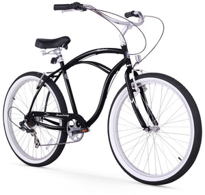 "Urban Man 7 Speed Men's 26"" Beach Cruiser Bike In Black"