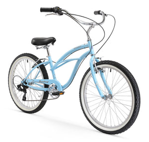 "Urban Lady 7 Speed Women's 24"" Beach Cruiser Bike In Baby Blue"