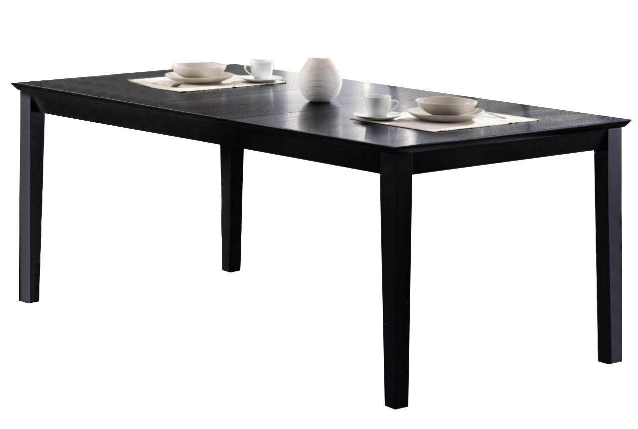 Louise Rectangular Black Dining Table with Leaf