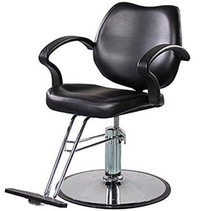 Beauty Mega Black Leather & Chrome Finish Hydraulic Barber Chair