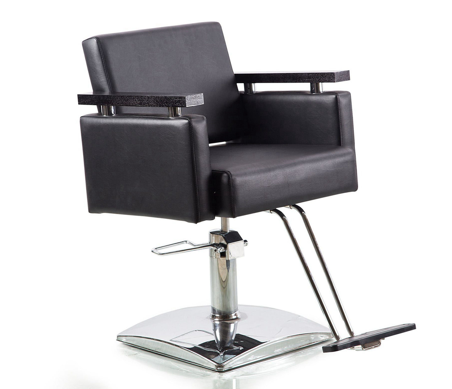 Beauty Mega Black Leather Hydraulic Steel Finish Barber Chair