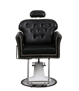 Beauty Mega Black Leather And Chrome Finish Hydraulic Barber Chair