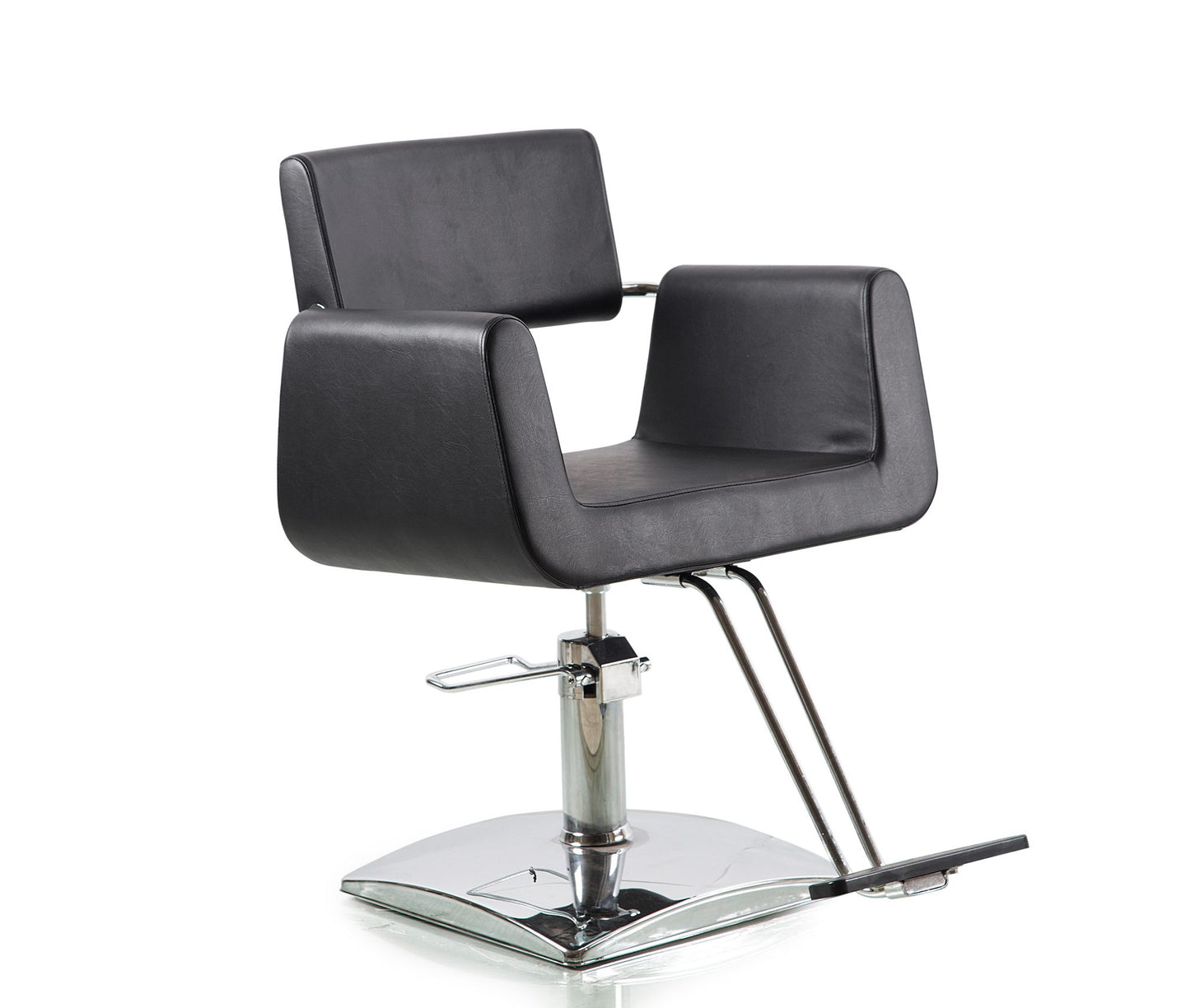 Beauty Mega Black Leather And Chrome Hydraulic Barber Chair